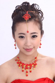 Gold Plated with Red Rhinestones Wedding Jewelry Set,Including Earrings,Necklace and Headpiece