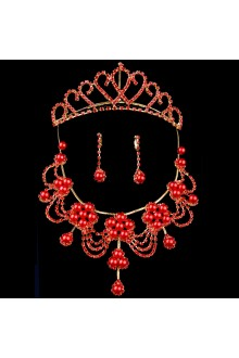 Red Pearls and Rhinestones Wedding Jewelry Set with Necklace,Earrings and Tiara