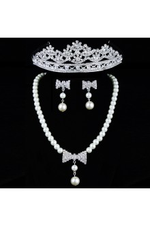 Gorgeous Rhinestones and Pearls with Alloy Plated Wedding Jewelry Set,Including Earrings,Necklace and Tiara