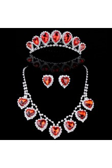 Red Sweetheart Zircons and Rhinestones Wedding Jewelry Set,Including Earrings,Necklace and Tiara