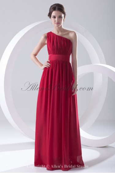 Chiffon One-Shoulder Neckline Column Floor Length Sash Prom Dress