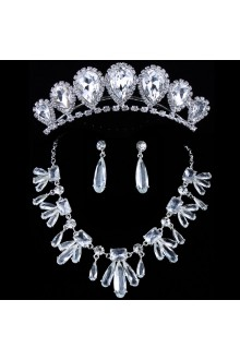 Beauitful Rhinestones and Zircons with Glass Wedding Jewelry Set,Including Earrings,Necklace and Tiara