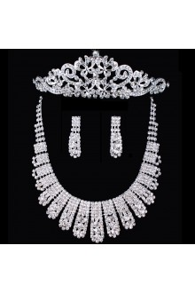 Beauitful Alloy with Rhinestones Wedding Jewelry Set, Including Earrings and Necklace,Tiara