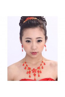 Plated Alloy  Wedding Jewelry Set with Red Rhinestones Earrings,Necklace and Headpiece