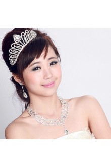 Beauitful Alloy with Rhinestones Wedding Jewelry Set with Earrings and Necklace,Tiara