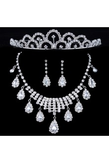 Fashion Alloy and Rhinestones Wedding Jewelry Set with Earring,Necklace and Tiara