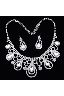 Gorgeous Rhinestones Wedding Jewelry Set with Earrings,Tiara and Necklace