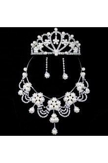 Alloy with Rhinestones and Pearls Wedding Jewelry Set,Including Earrings,Necklace and Tiara