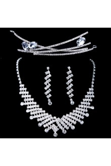 New Style Rhinestones Wedding Jewelry Set with Necklace,Earrings and Headpiece