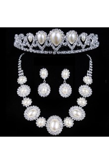 Pearls and Rhinestones Wedding Jewelry Set with Earrings,Necklace and Tiara