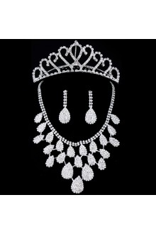Shining Rhinestones Wedding Jewelry Set Earrings,Necklace and Combs