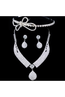 Gorgeous Alloy  Wedding Bridal Jewelry Set with Rhinestones Earrings,Necklace and Tiara