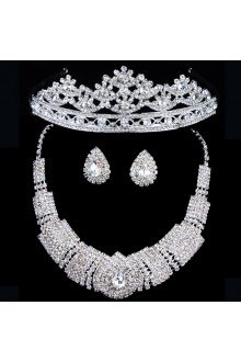 Gorgeous Wedding Jewelry Set - Rhinestones with Alloy Earrings,Necklace and Headpiece