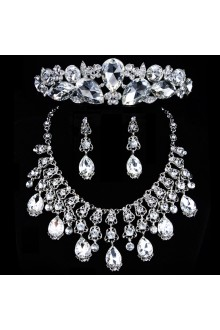 Luxurious Rhinestones and Zircons with Glass Wedding Jewelry Set with Earring,Necklace and Tiara