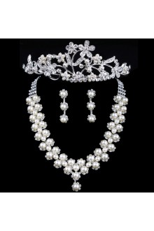 Gorgeous Rhinestones and Pearls with Alloy Plated Wedding Jewelry Set,Including Earrings,Necklace and Headpiece