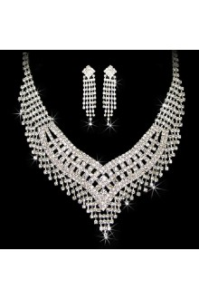 Luxurious Rhinestones Wedding Jewelry Set with Necklace,Earrings and Tiara