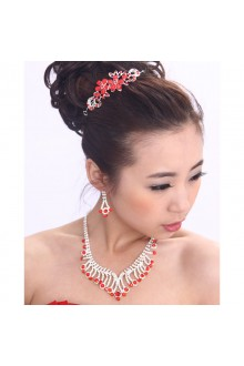 Beauitful Red Rhinestones and Zircons with Glass Wedding Jewelry Set with Earrings,Necklace and Tiara
