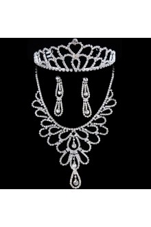 New Style Rhinestones Wedding Jewelry Set,Including Necklace,Earrings and Tiara