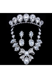 Luxurious Rhinestones Wedding Jewelry Set,Including Necklace,Earrings and Headpiece