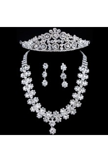 Gorgeous Wedding Bridal Jewelry Set - Earrings,Headpiece and Necklace with Rhinestones