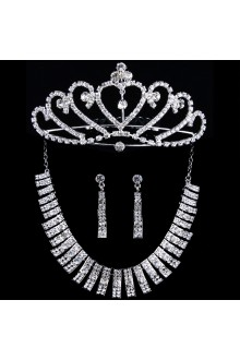 Wedding Jewelry Set - Necklace,Earrings and Tiara with Rhinestones and Alloy Plated