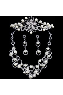 New Style Alloy with Pearls and Rhinestones Wedding Jewelry, Set Including Necklace,Earrings and Headpiece
