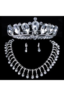 Shining Wedding Jewelry Set - Earrings,Necklace and Tiara with Alloy with Rhinestones