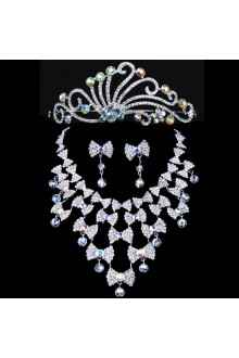 Beauitful Alloy Wedding Bridal Jewelry Set with Color-Rhinestones Earrings,Tiara and Necklace