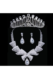 New Style Rhinestones Wedding Jewelry Set with Necklace,Earrings and Tiara