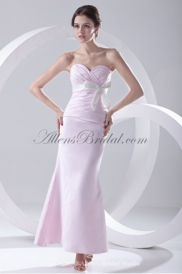 Satin Sweetheart Neckline Sheath Ankle-Length Crisscross Ruched Prom Dress