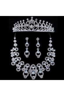 New Style Rhinestones Flower Wedding Jewelry Set with Necklace,Earrings and Tiara