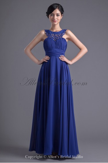 Chiffon Jewel Neckline A-line Floor Length Beading Prom Dress