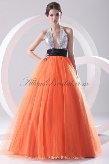 Net and Satin Halter Neckline Ball Gown Floor Length Sequins Prom Dress