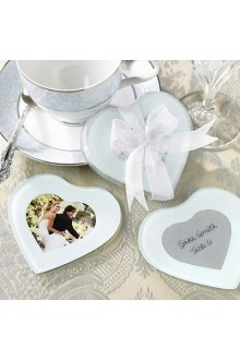 Baby Blue Damask Print Heart Photo Coasters