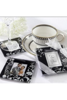 """Timeless Traditions"" Elegant Black & White Glass Photo Coasters (set of 2)"