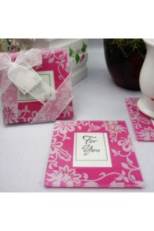 Picture Perfect Pink Glass Photo Coasters(set of 2)