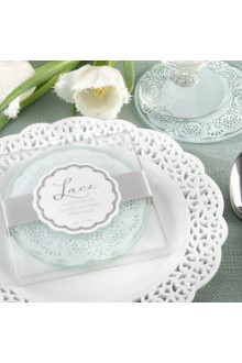 Exquisite Lace And Frosted Glass Coasters (Set of 2)