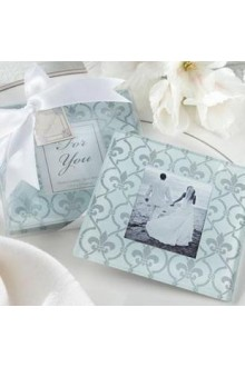 Fleur-de-lis Glass Photo Coasters (set of 2)