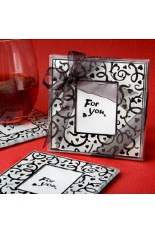 Hearts and Flourishes Collection Photo Coaster Favors (2 Pieces Set)