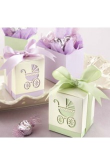"""Baby's Day Out"" Laser Cut Carriage Favor Box – Set of 12 (More Colors)"