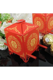Asian Style Red Sedan Chair Favor Box (Set of 12)
