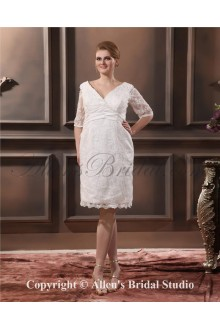 2013 Lace V-Neck Three Quarter Sleeves Plus Size Bridal Gown Wedding Dress