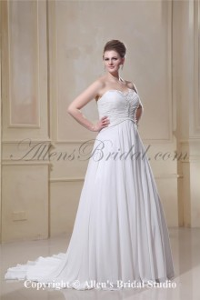Sweetheart Chiffon Embroidered Court Train Plus Size Wedding Dress