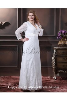 Lace Elegant Ruffle V-Neck Plus Size Wedding Dress