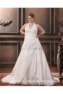 Halter Satin Embroidered Court Train Plus Size Wedding Dress