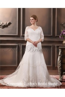 Elegant Lace Embroidered V-Neck Beading Plus Size Wedding Dress