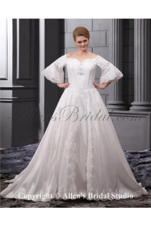 Off-the-Shoulder Court Train Organza Embroidered Plus Size Wedding Dress