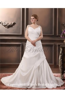 Elegant Satin Beading Court Train V-Neck Plus Size Wedding Dress