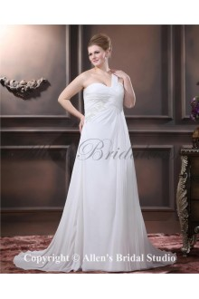 Fashionable One Shoulder Chiffon Embroidered Sweep Train Plus Size Wedding Dress