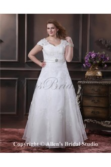 Elegant Yarn Embroidered Beading V-Neck Floor Length Plus Size Wedding Dress